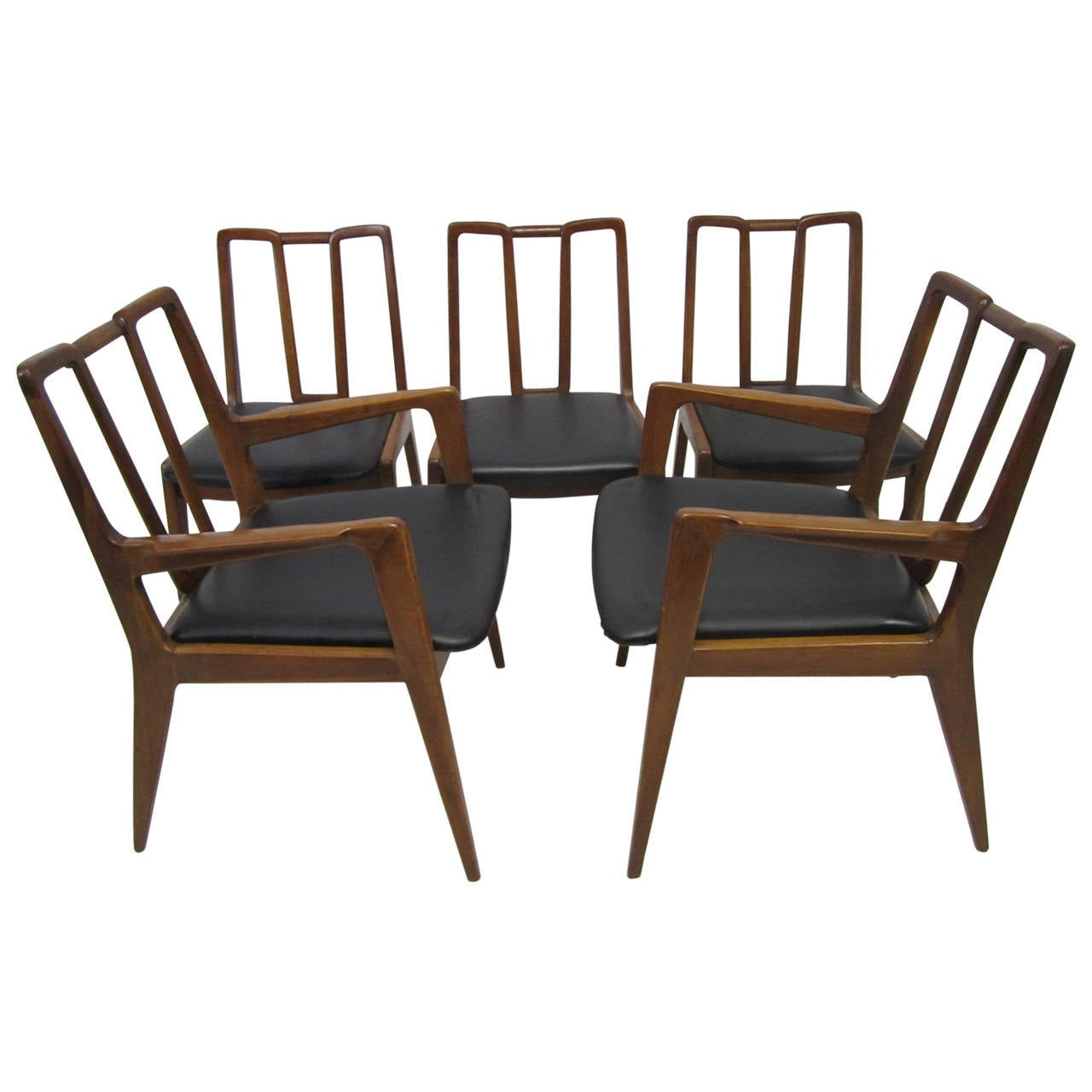 Mid Century Dining Chair Handsome Set Of Five John Stuart Walnut Dining Chairs Mid