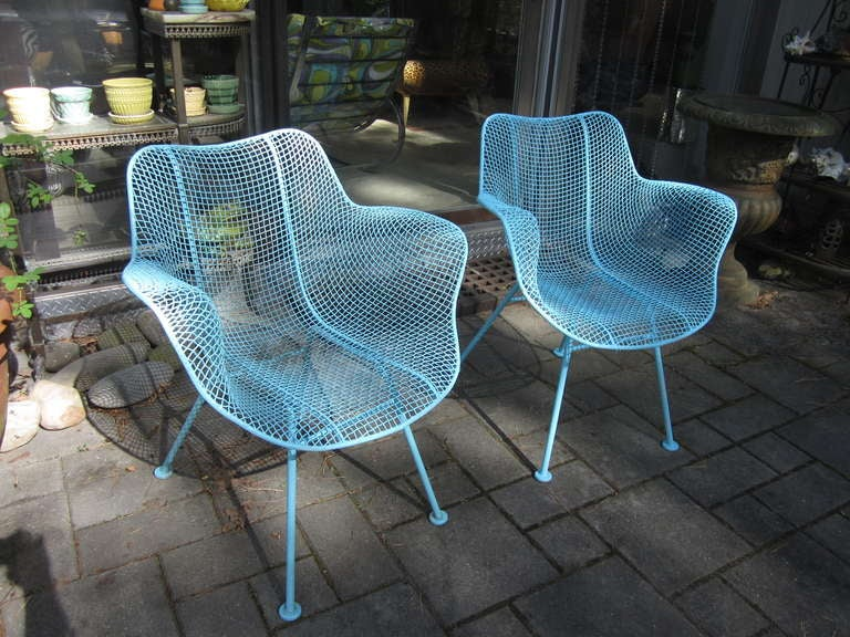 woven lounge chair covers wedding cost pair woodard mesh sculptra patio chairs mid-century modern for sale at 1stdibs
