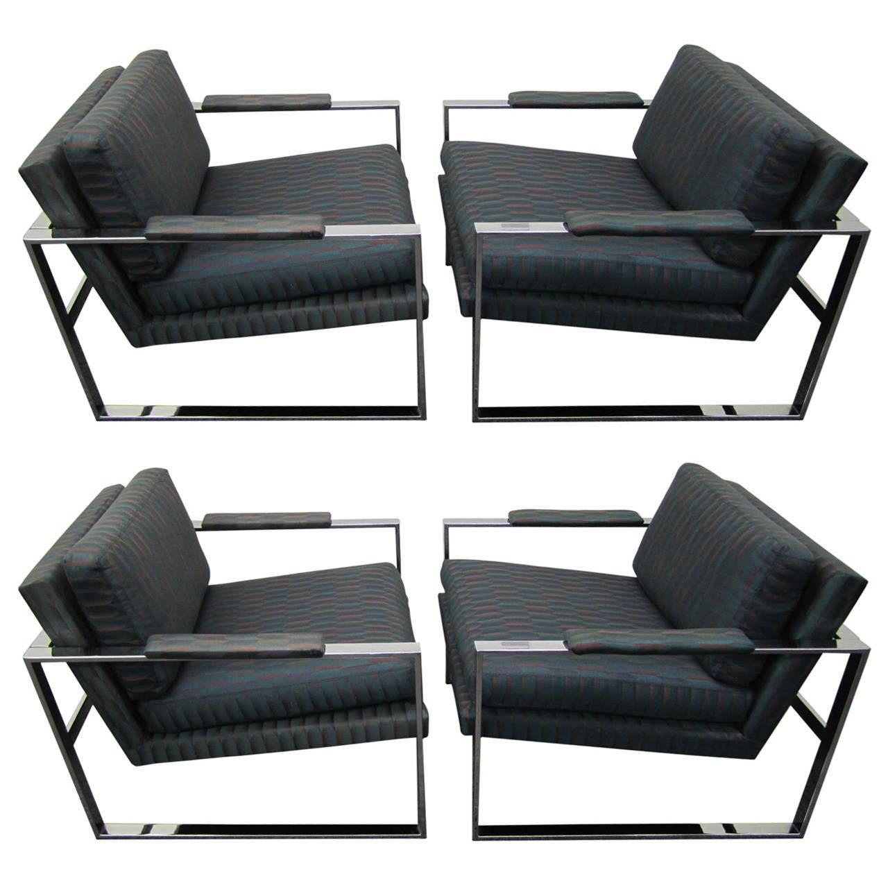 Cube Chairs Awesome Set Of Four Milo Baughman Style Chrome Cube Chairs Mid Century Modern