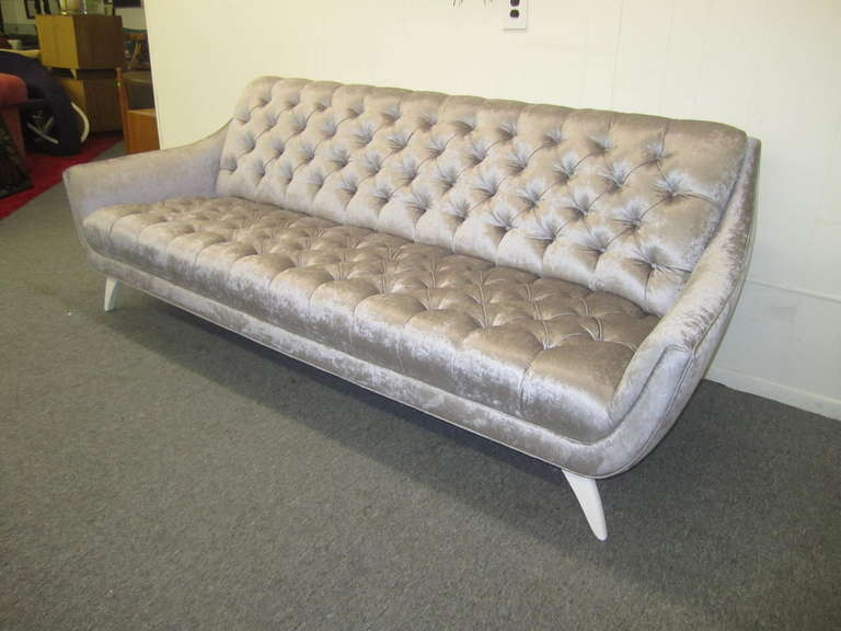 velvet grey tufted sofa recliners amazing regency modern silver mid century totally restored and restyled ohhh is what you will say
