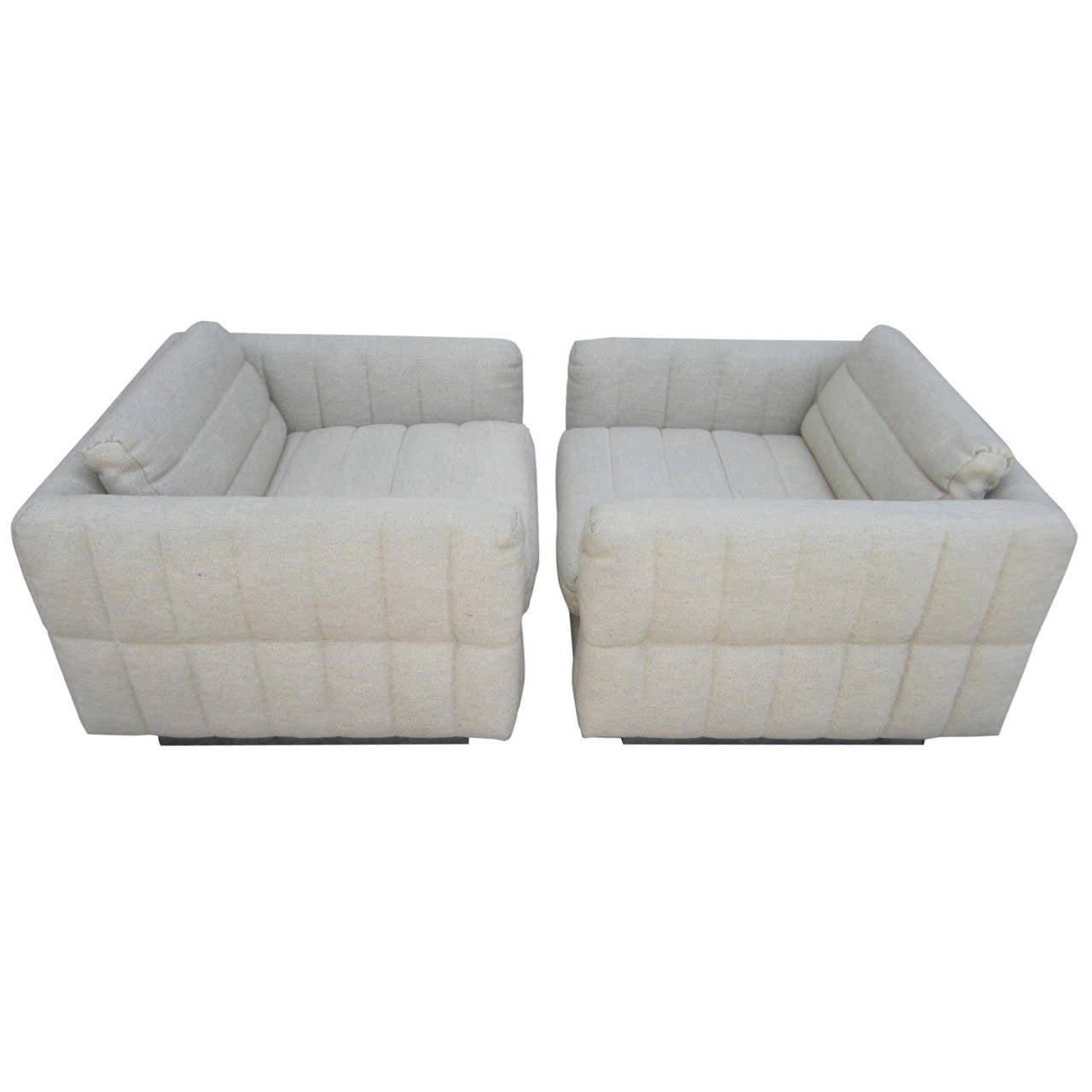 Cube Chairs Lovely Pair Of Channel Tufted Milo Baughman Cube Chairs Chrome Base Mid Century