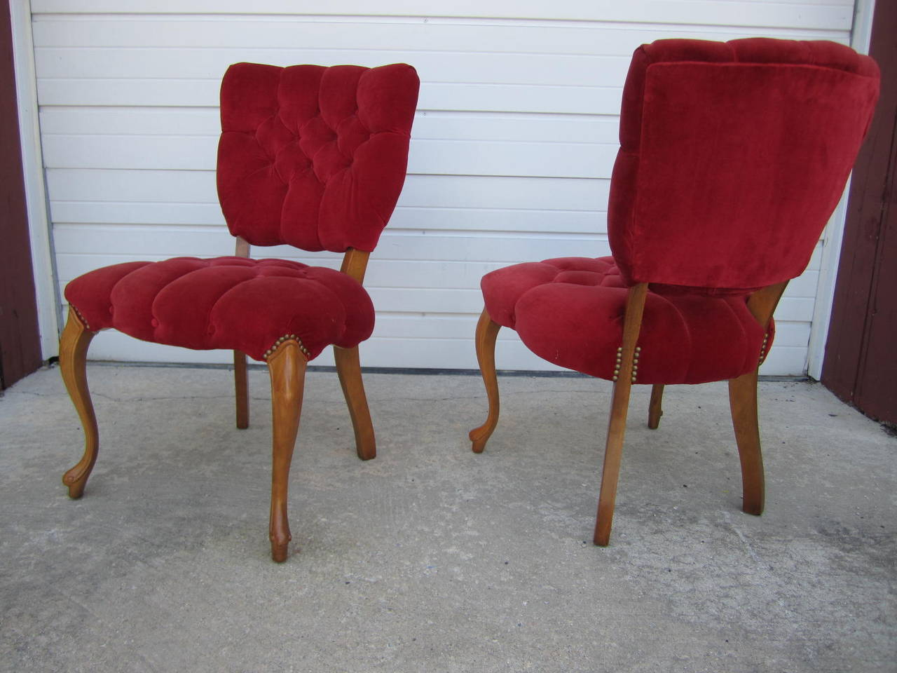 red tufted dining chair crate and barrel kitchen chairs side home ideas