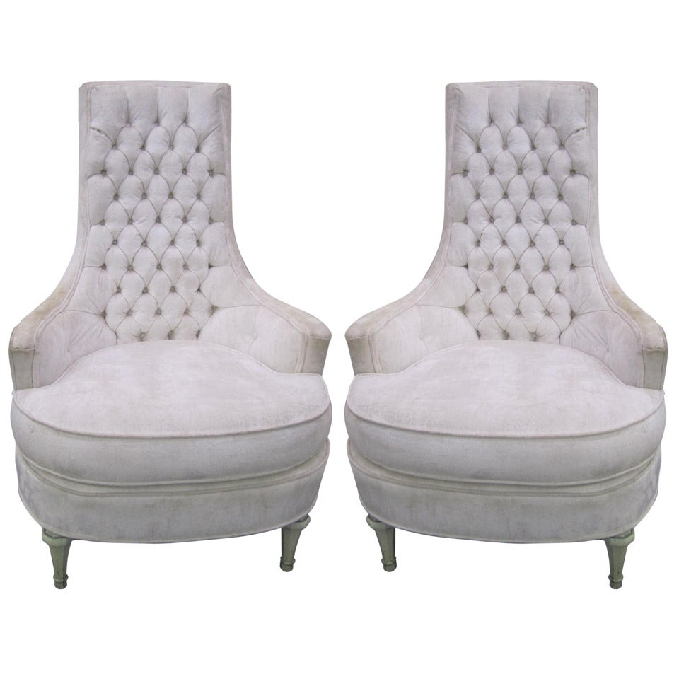 Tufted High Back Chair Fabulous Pair Of Hollywood Regency Tufted High Back Chairs