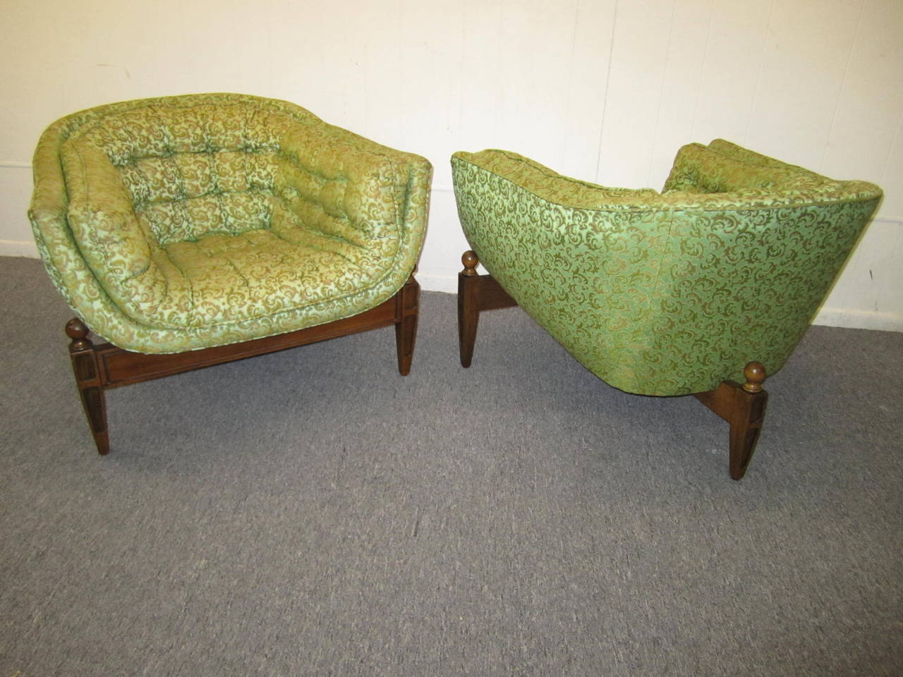 unusual chair legs best lift chairs lovely pair of mid century modern tufted 3 legged lounge