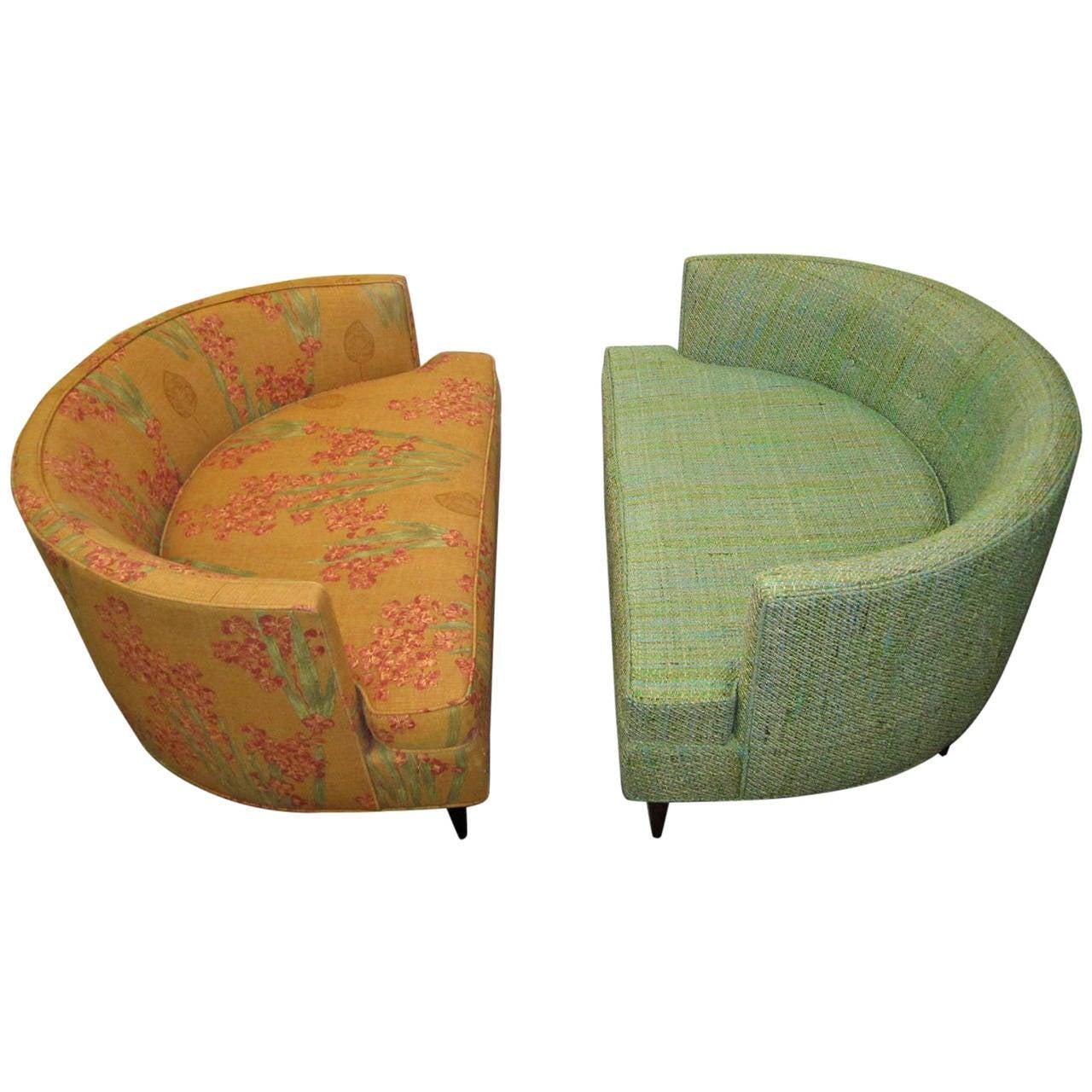 half circle chair dining room seat covers walmart pair of unusual wide semi milo baughman style