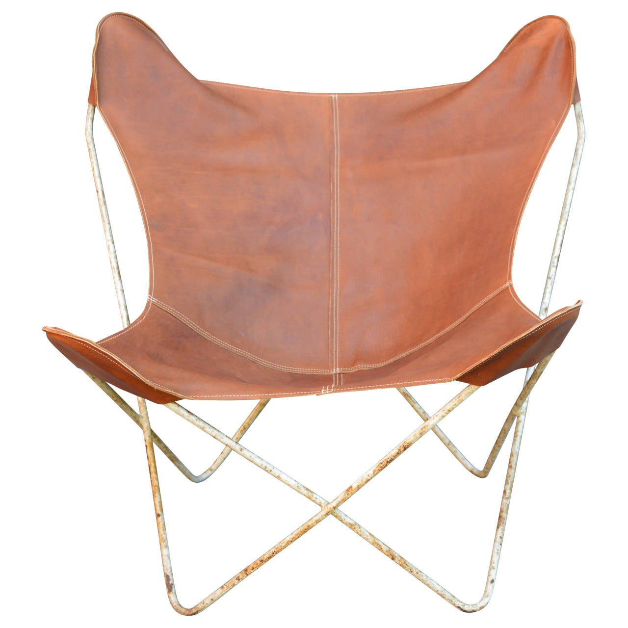 Brown Leather Butterfly Chair Rustic Butterfly Chair Hardoy At 1stdibs