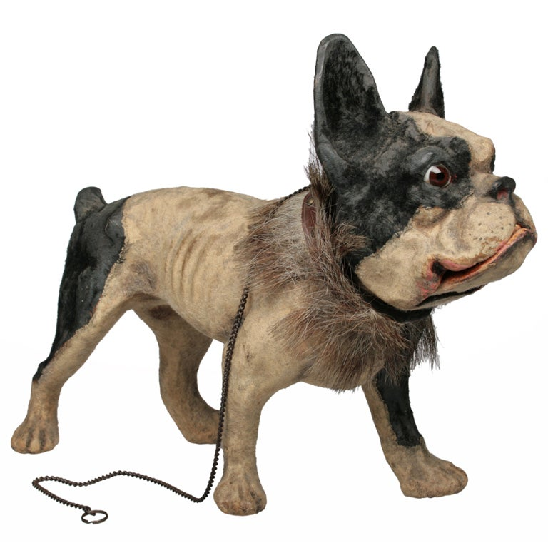 Antique French Papier Mache Bulldog Pull Toy at 1stdibs