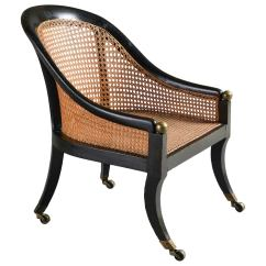 American Leather Swing Chair Office Chairs For Sciatica Regency Ebonized Bergere At 1stdibs