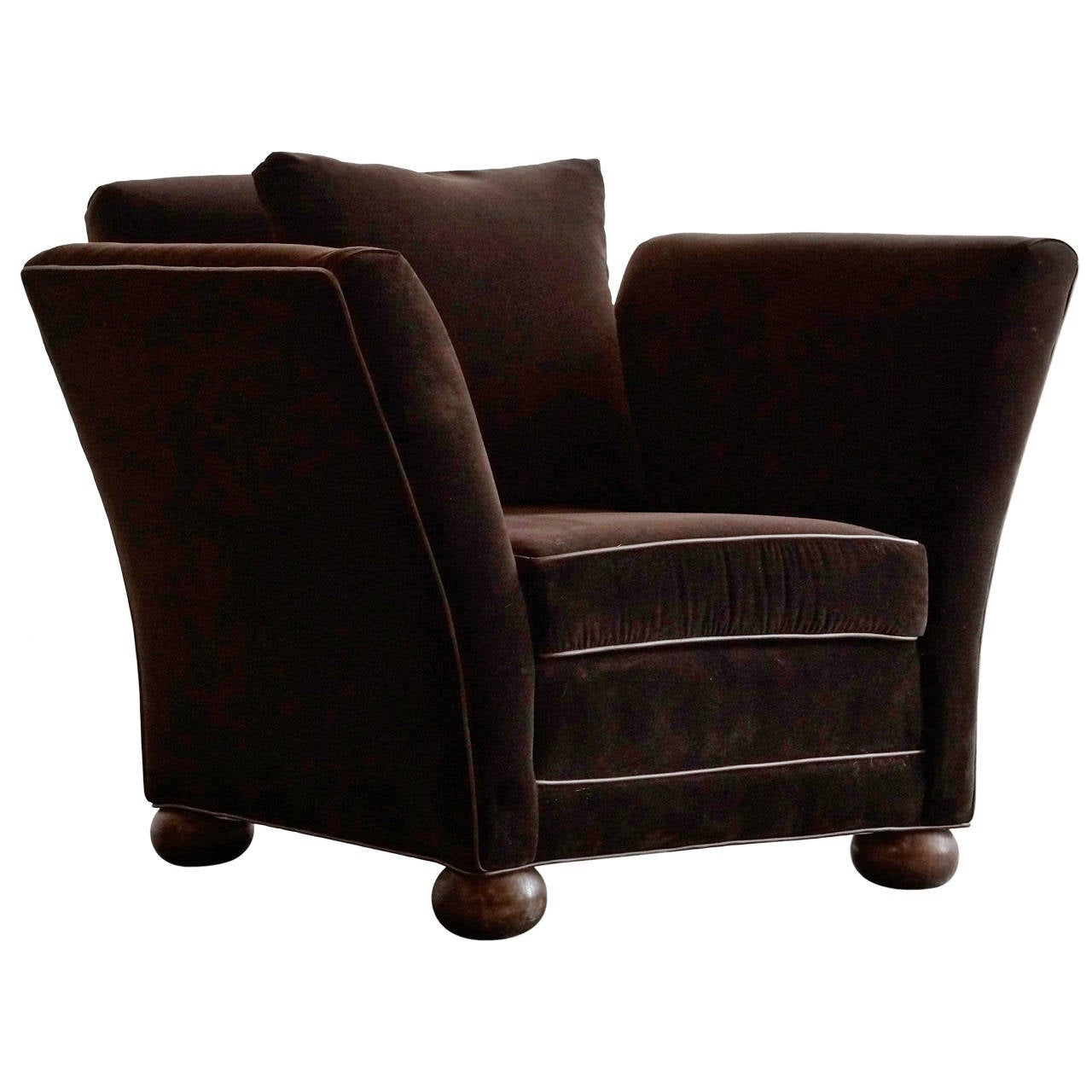 Velvet Club Chair Large Vintage Club Chair In Brown Velvet At 1stdibs