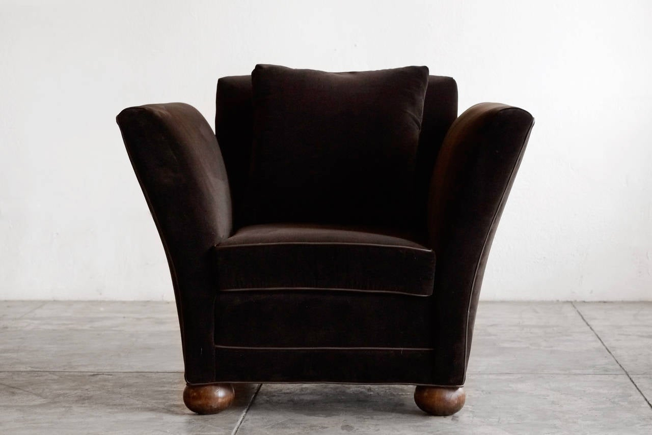 Large Vintage Club Chair in Brown Velvet at 1stdibs