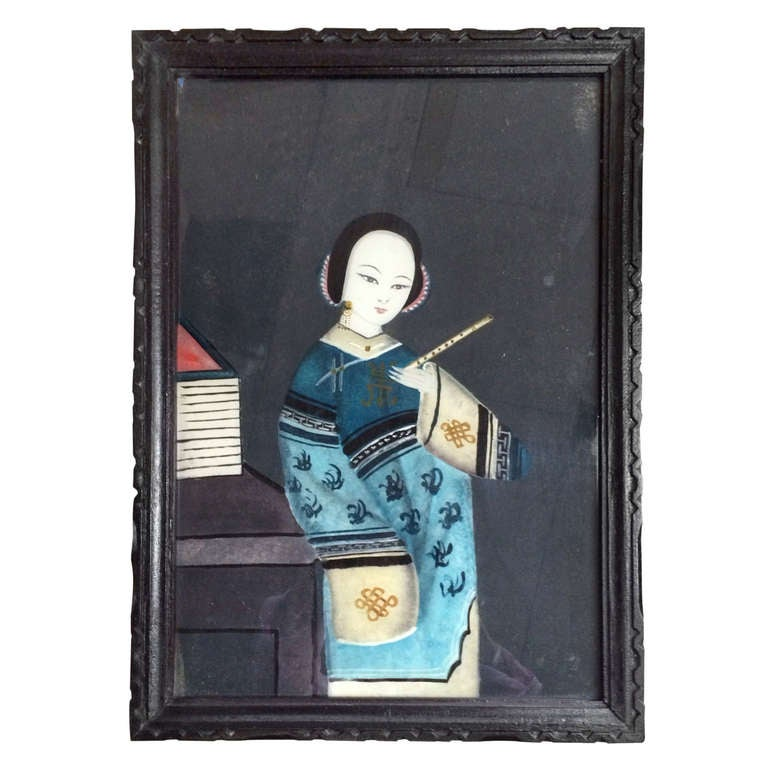 Antique Chinese Reverse Painting on Glass at 1stdibs