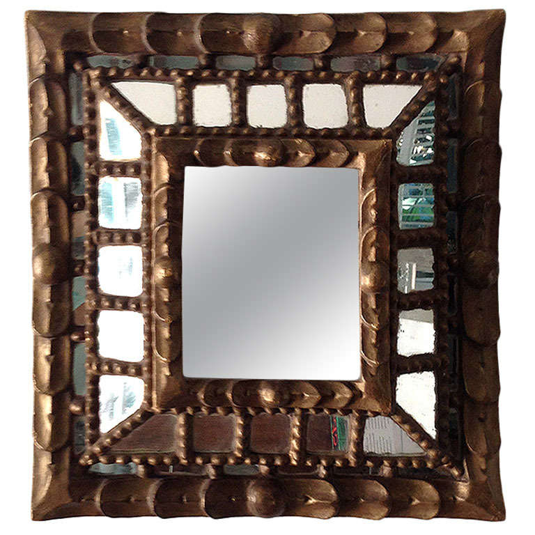 Spanish Colonial Gilt Wood And Masaic Framed Mirror At 1stdibs