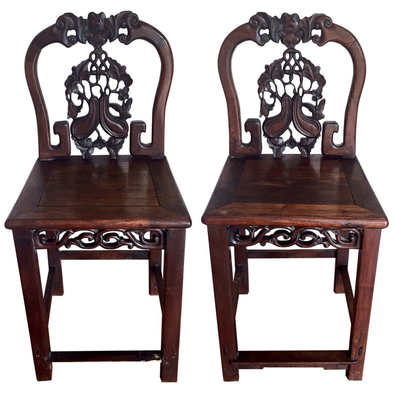 Chinese Chair Pair Of Antique Chinese Huanghuali Side Chairs For Sale At