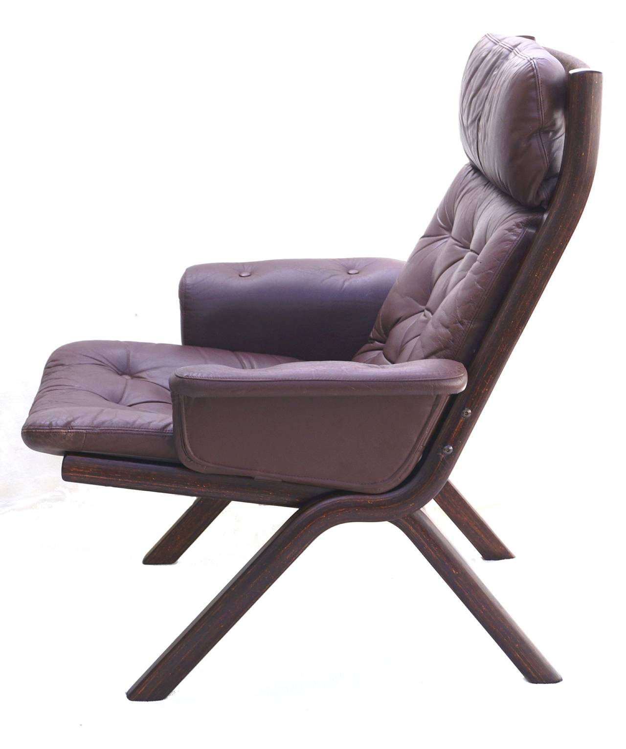 modern leather chair and ottoman adirondack for sale danish sculptural sling lounge