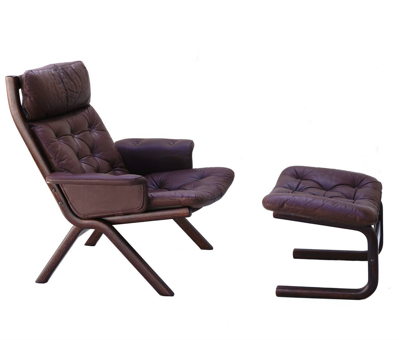 modern leather chair and ottoman patio bar covers danish sculptural sling lounge
