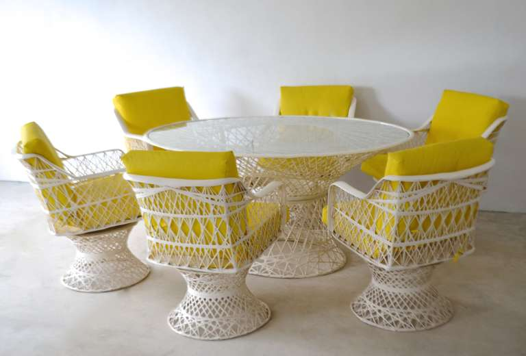 bistro set with swivel chairs lilly pulitzer chair spun fiberglass oval dining table and six at 1stdibs
