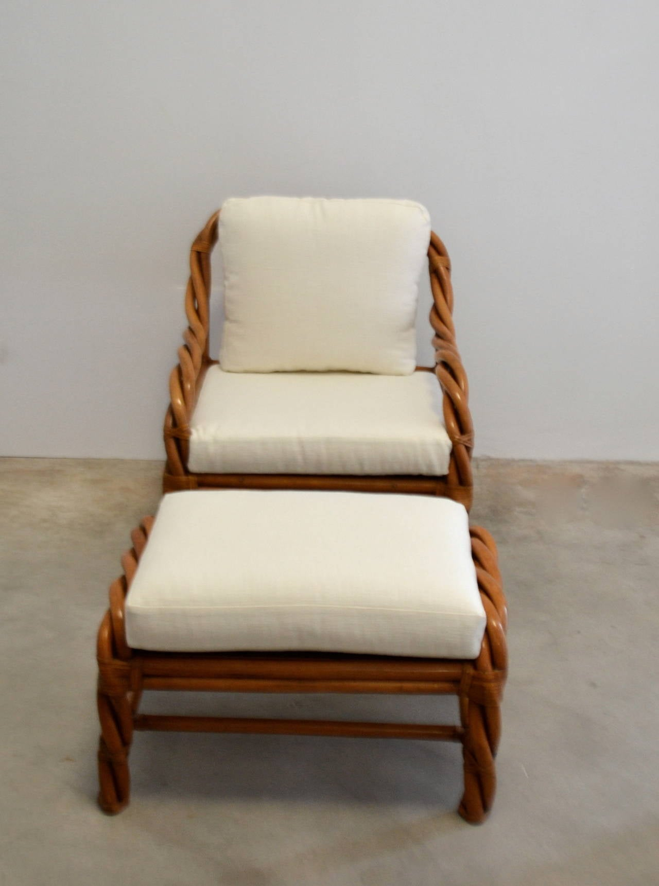 wicker chairs with ottoman underneath dining room protective chair covers rattan club and at 1stdibs