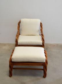 Rattan Club Chair And Ottoman 1stdibs