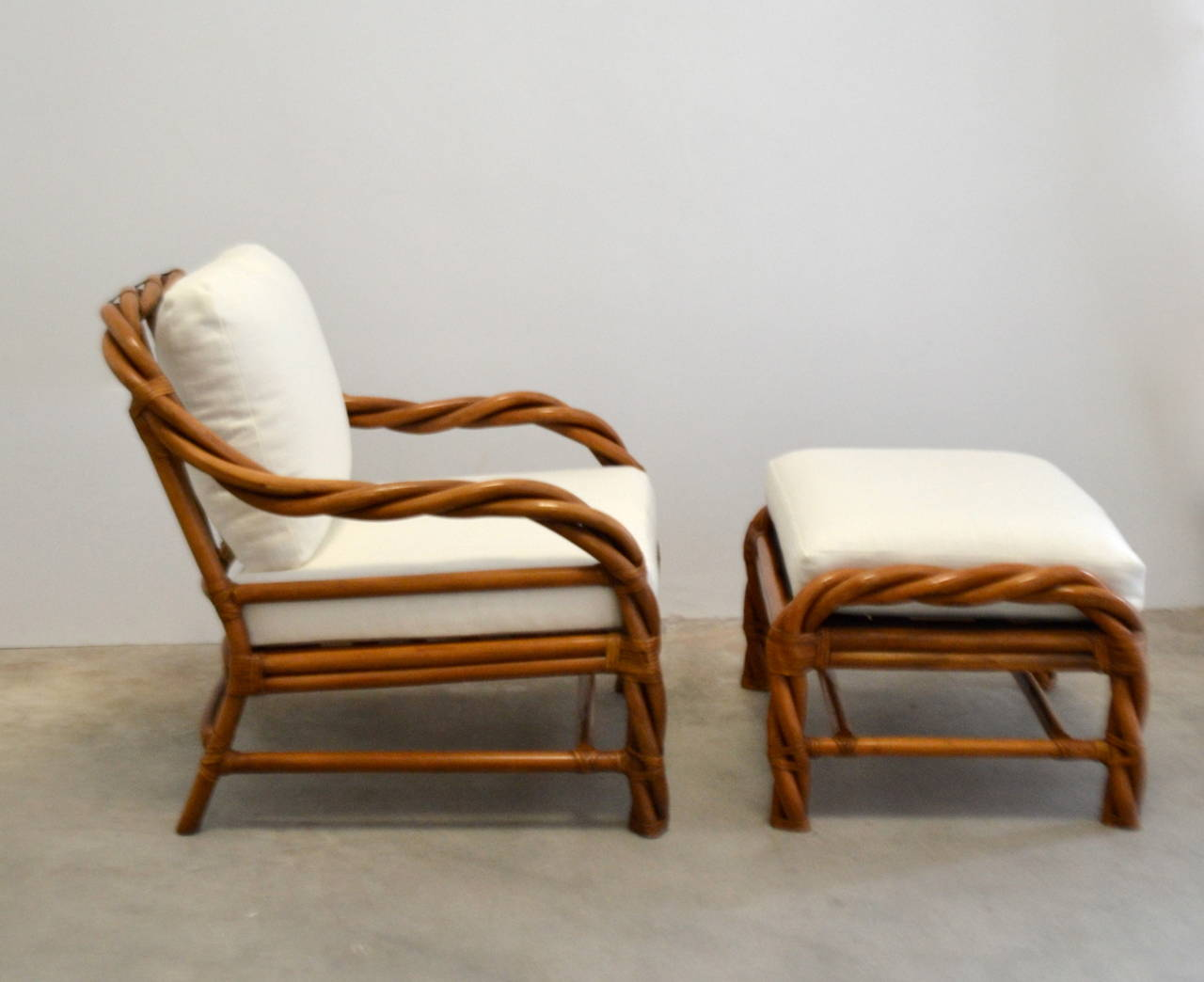 wicker chairs with ottoman underneath high table and for kitchen rattan club chair at 1stdibs
