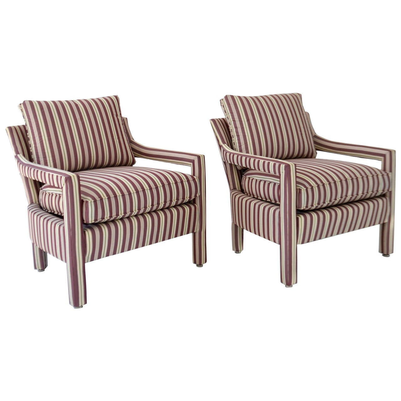 Upholstered Club Chair Pair Of Upholstered Club Chairs At 1stdibs