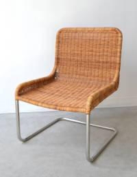 Woven Rattan and Leather Occasional Chair / Side Chair at ...