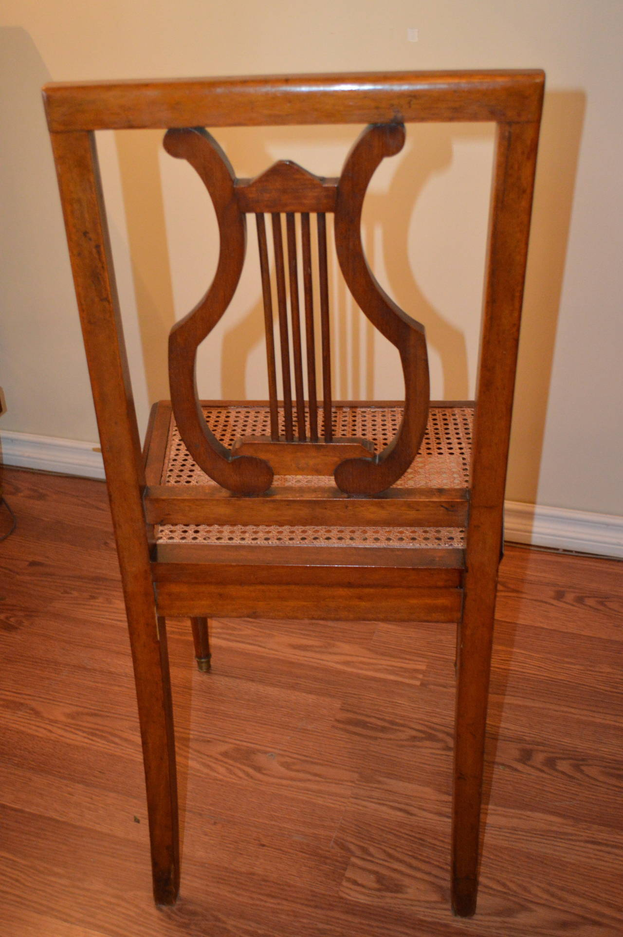 antique cane seat dining chairs doc mcstuffins erasable activity table and chair set blue of six mahogany harp back at 1stdibs