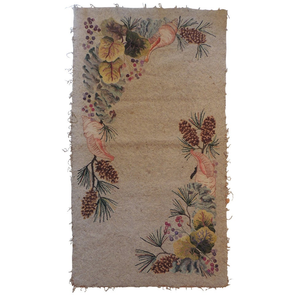 Large Antique Hook Rug With Pine Cones And Sea Shells At