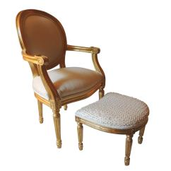 Leather Bergere Chair And Ottoman 2 Person Lounge Petite Child Size French With At 1stdibs