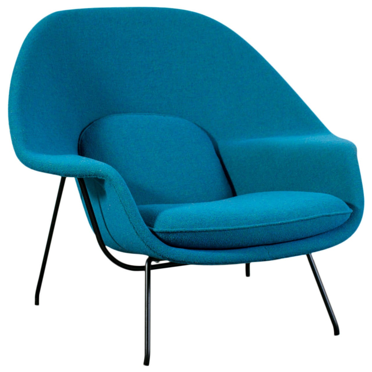 knoll saarinen chair gray velvet vintage womb by eero for at 1stdibs