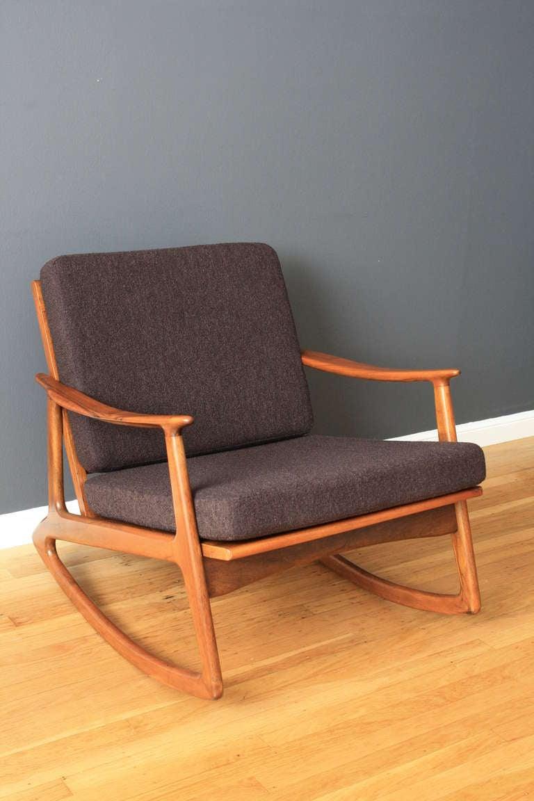 danish modern rocking chair green fishing mid-century at 1stdibs