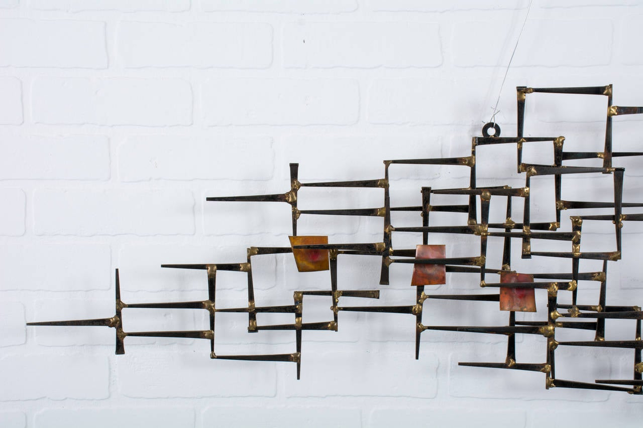 Mid Century Modern Metal Wall Sculpture At 1stdibs