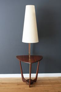 Mid-Century Modern Walnut Floor Lamp with Side Table at ...