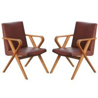 Mid-Century Modern Thonet Bentwood Upholstered Armchairs ...