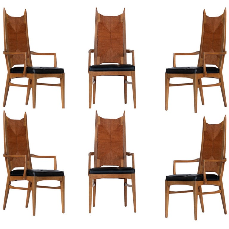 danish modern dining chair revolving egg set of six high back cathedral chairs for sale