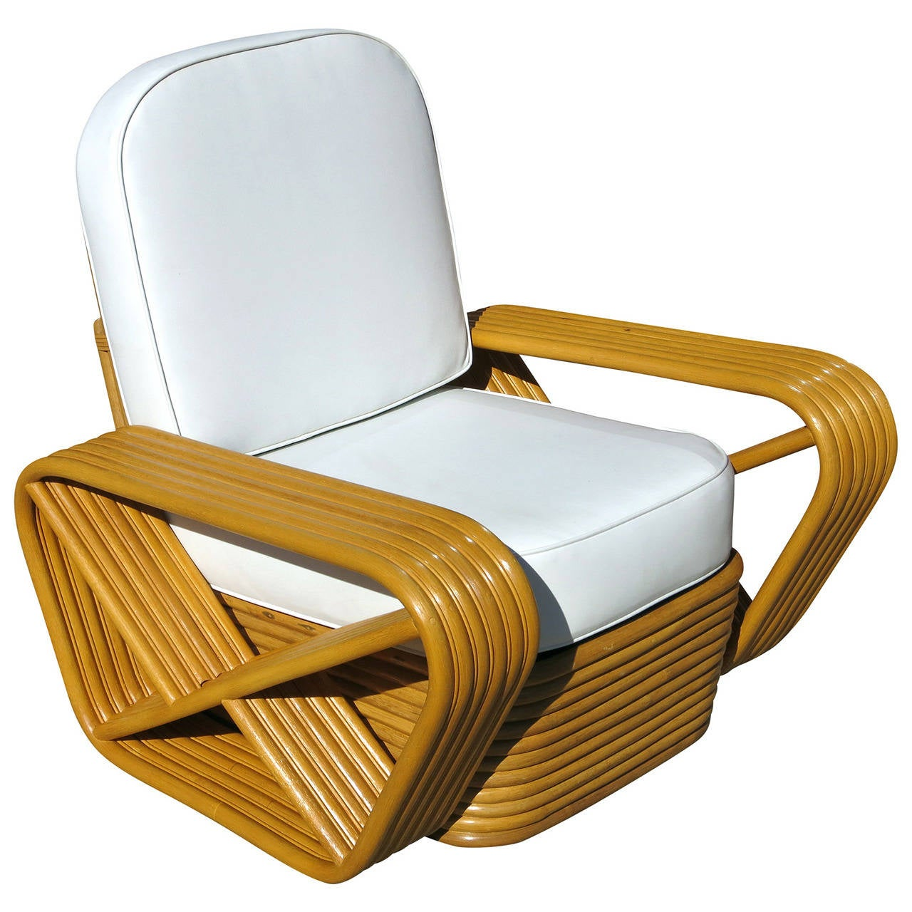 Pretzel Chair Paul Frankl Style Square Pretzel Rattan Lounge Chair