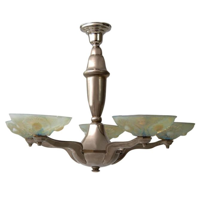 Pressed Vaseline Glass Art Deco Style Chandelier For