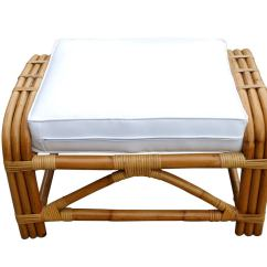 Round Wicker Chair Name Wedding Covers Montreal 3 4 Pretzel Rattan Lounge With Ottoman At 1stdibs