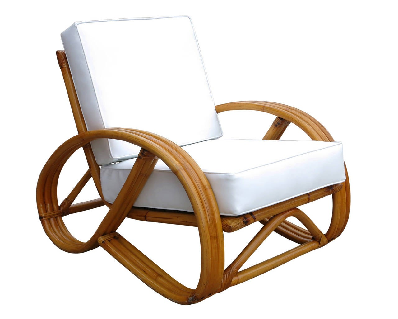 Pretzel Chair 3 4 Round Pretzel Rattan Lounge Chair With Ottoman At 1stdibs