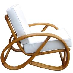 Circular Lounge Chair Parson Dining Room Chairs 3 4 Round Pretzel Rattan With Ottoman At 1stdibs