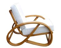 3/4 Round Pretzel Rattan Lounge Chair with Ottoman at 1stdibs