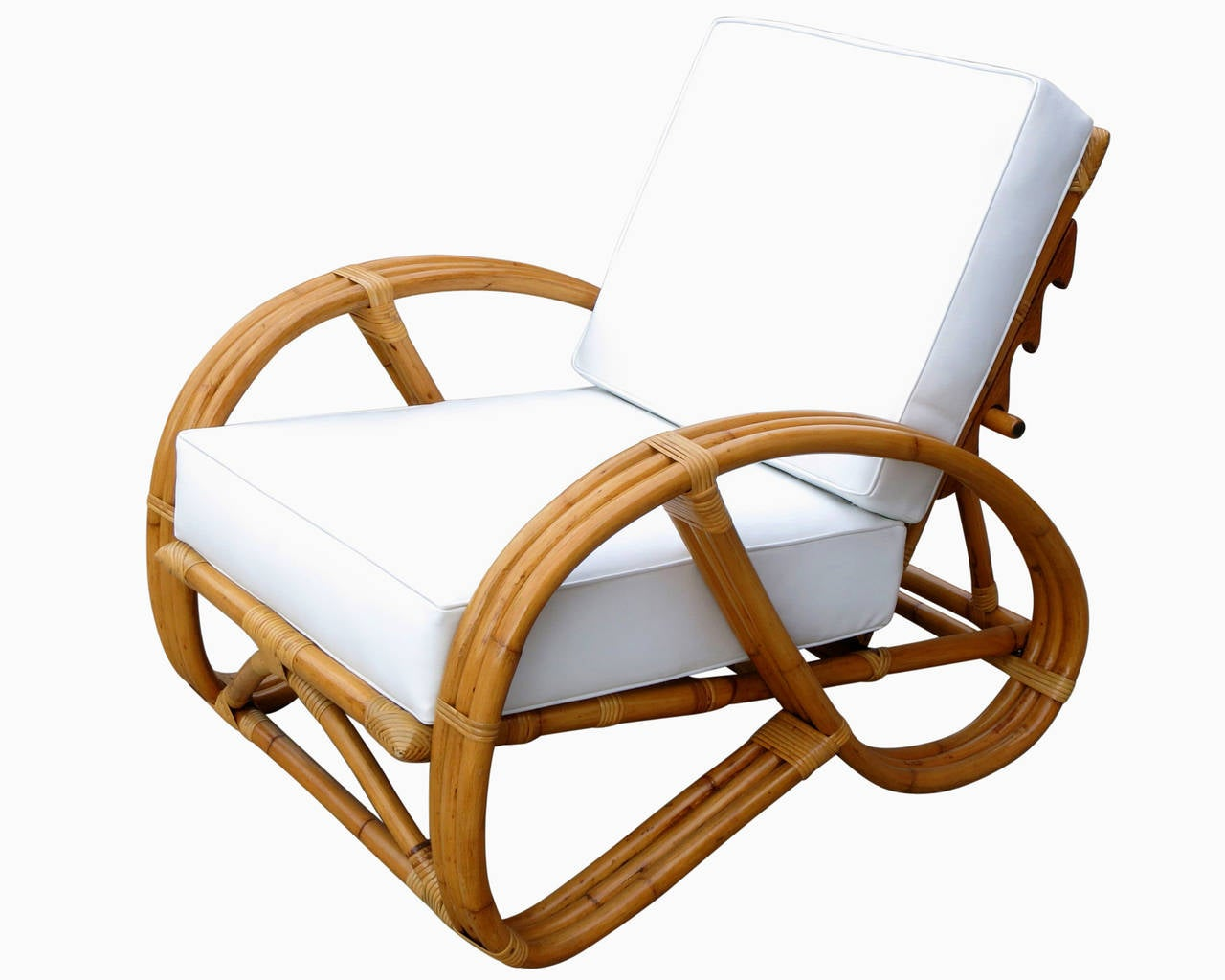 Pretzel Chair Rare Restored Rattan Reclining Lounge Chair With 3 4