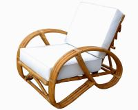 Rare Restored Rattan Reclining Lounge Chair with 3/4 ...
