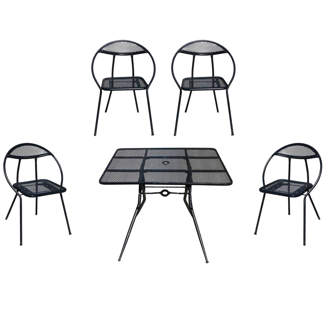 mid back mesh chair hammock stand salterini mid-century modern steel outdoor or patio dining set with four chairs for sale at 1stdibs