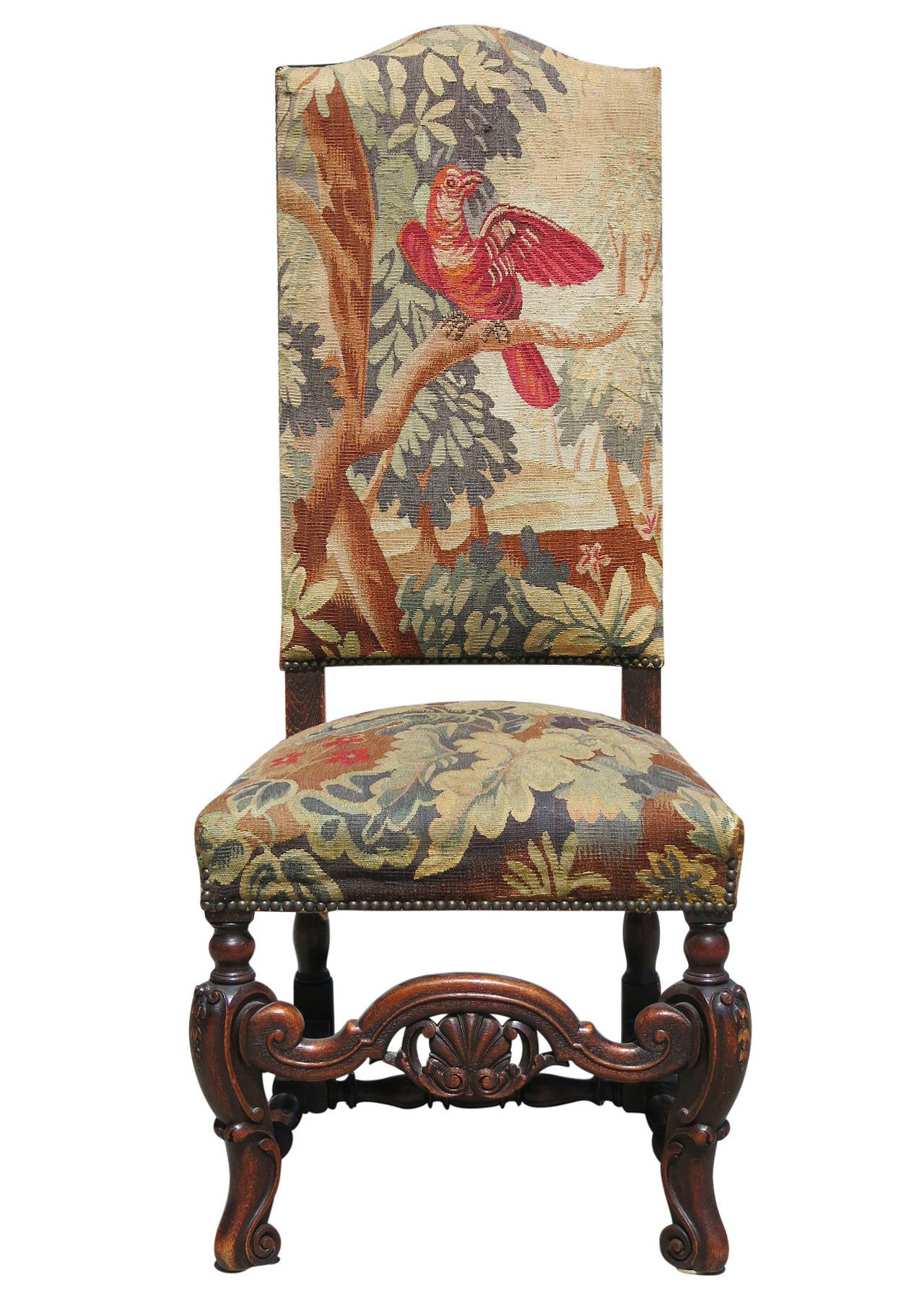 high back oak dining chairs painted french set of six 19th century carved tapestry