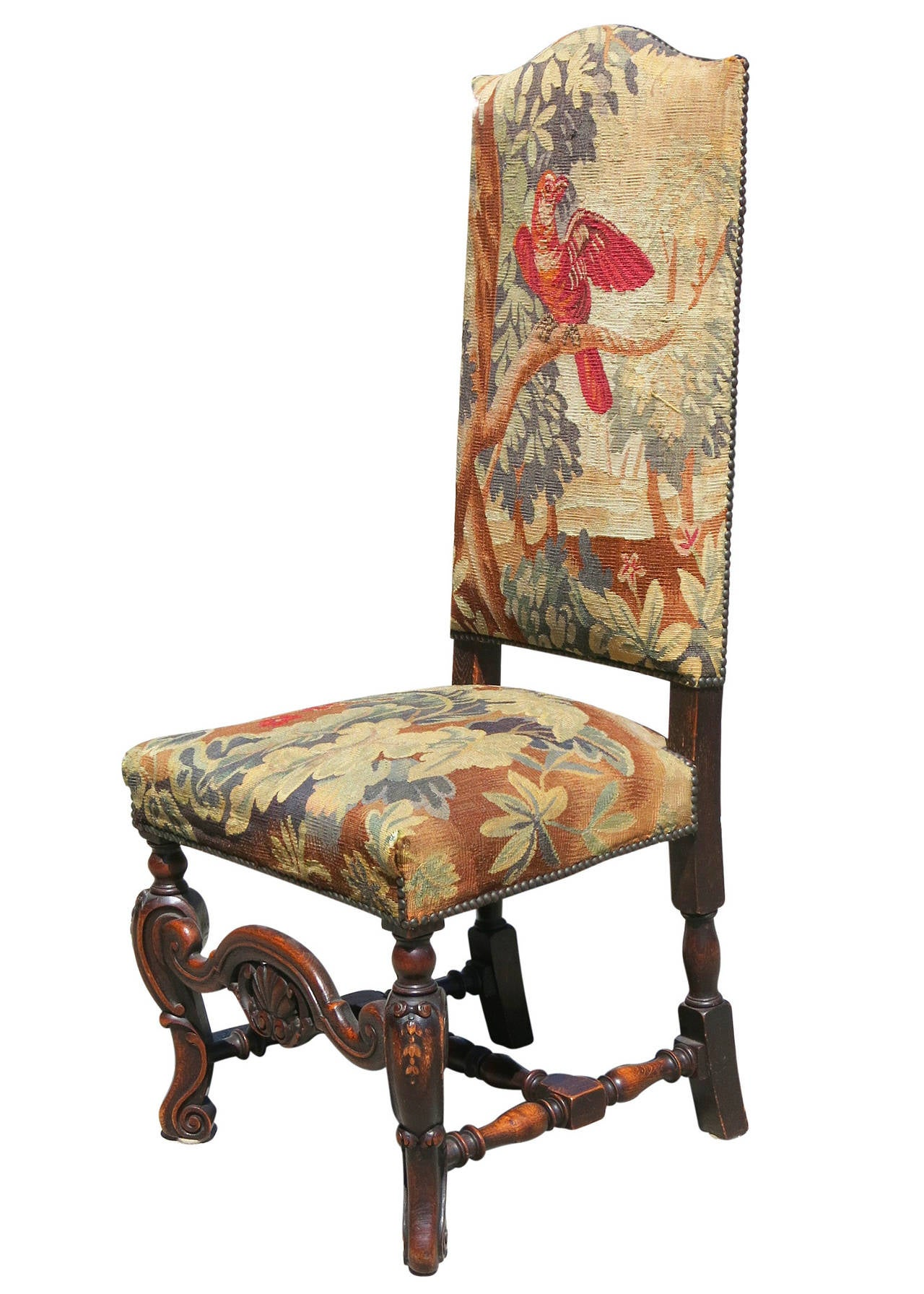 high back oak dining chairs blue and white striped chair set of six 19th century carved tapestry