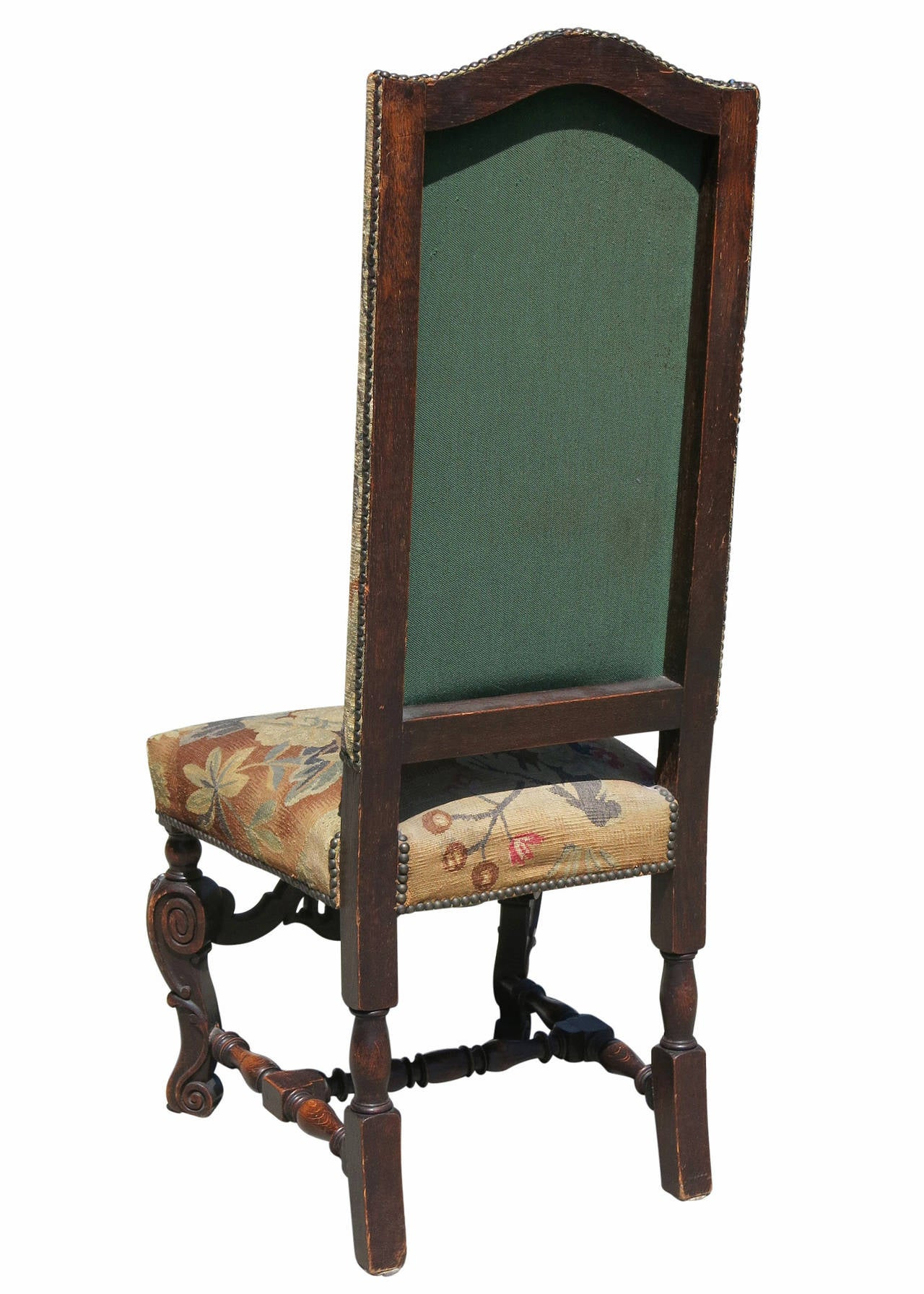high back oak dining chairs west elm leather chair review set of six 19th century carved tapestry