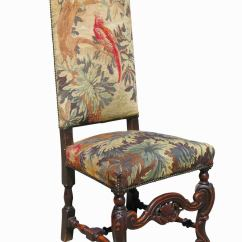 High Back Oak Dining Chairs Simple Chair Set Of Six 19th Century Carved Tapestry