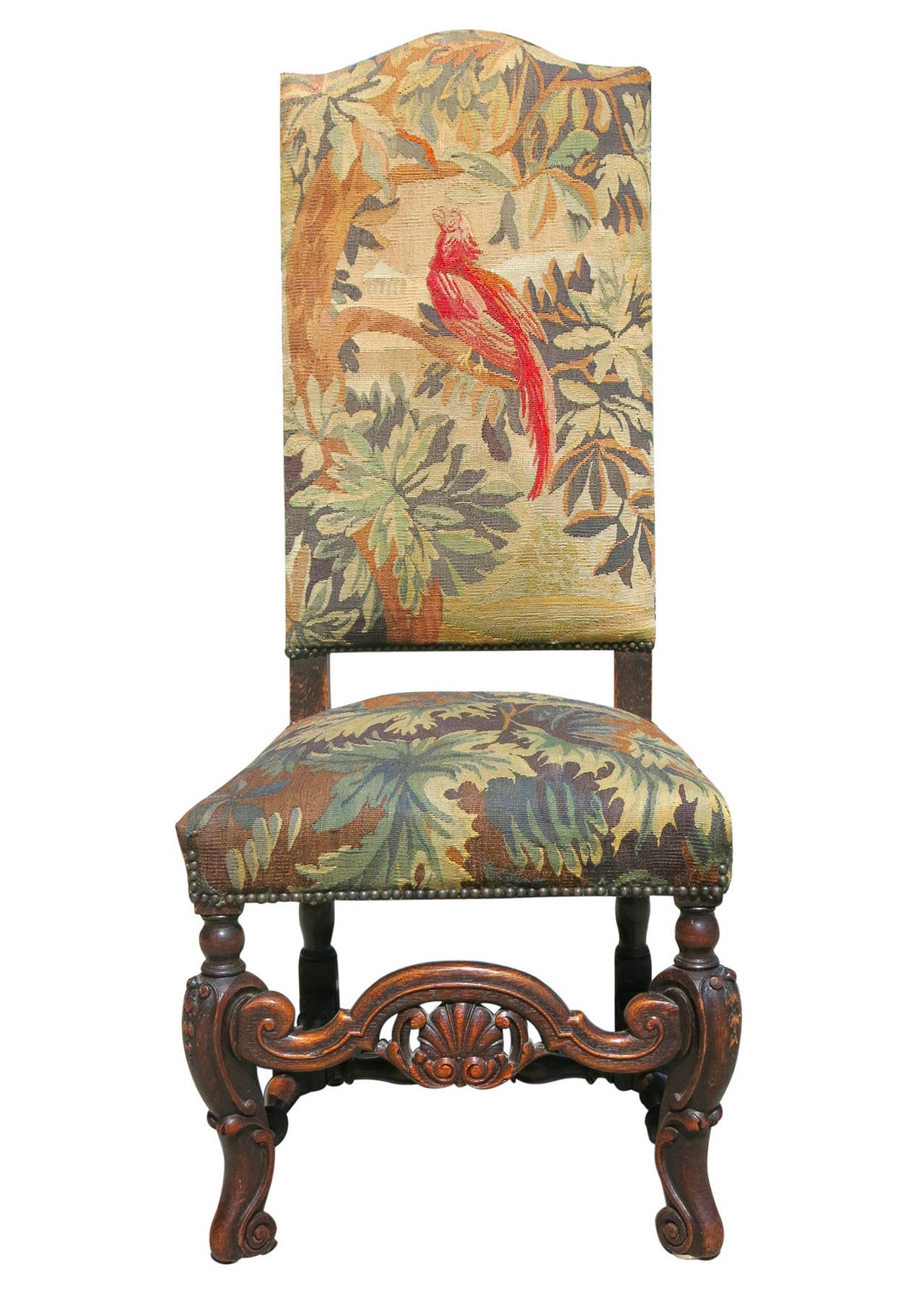 high back oak dining chairs table set of six 19th century carved tapestry