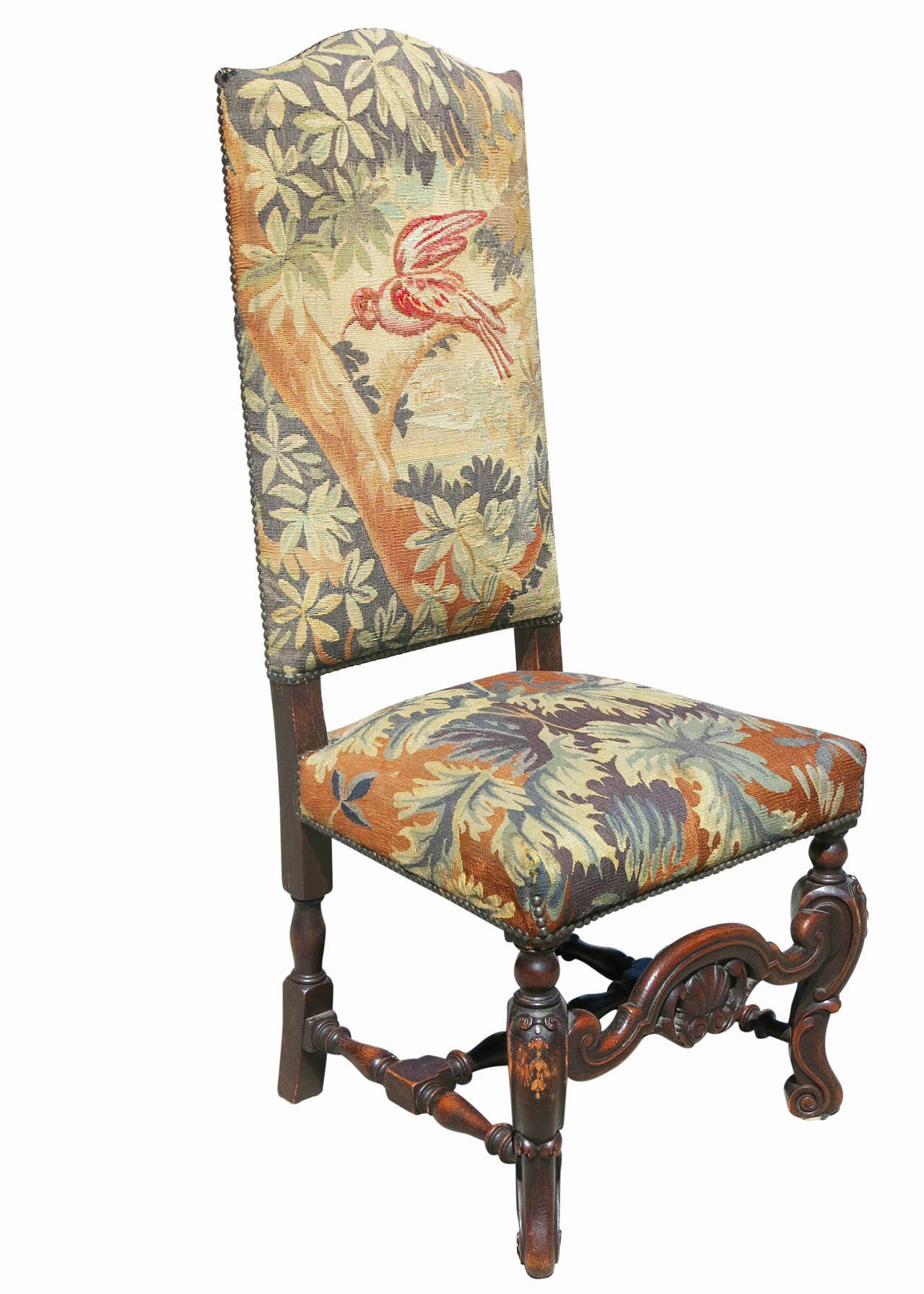 high back oak dining chairs ashley accent set of six 19th century carved tapestry