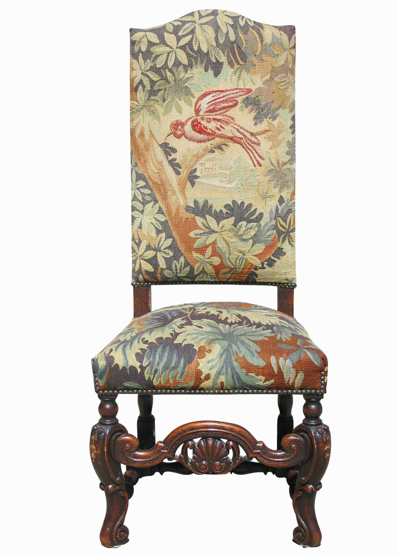 high back oak dining chairs cane chair seat replacement set of six 19th century carved tapestry